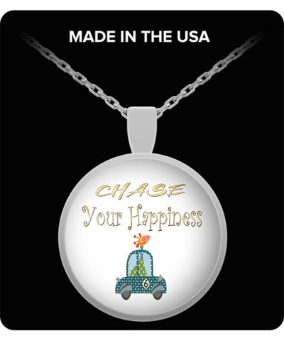 Chase Your Happiness Giraffe In Car Pendant Necklace