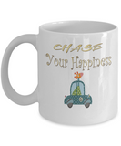 Chase Your Happiness Giraffe In Car Coffee Mug