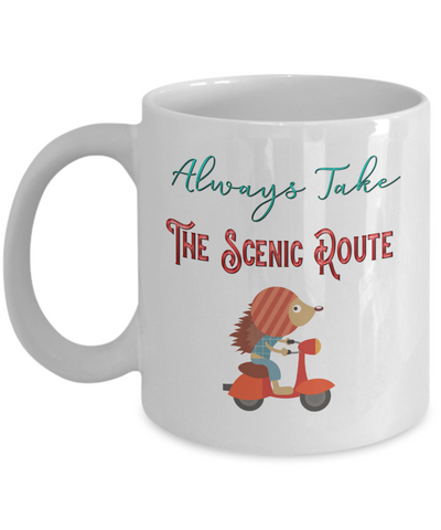 Always Take The Scenic Route Hedgehog On Scooter Coffee Mug