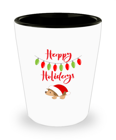 Christmas Happy Holidays Hedgehog Shot Glass