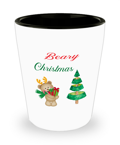 Beary Christmas Teddy Bear Xmas Shot Glass