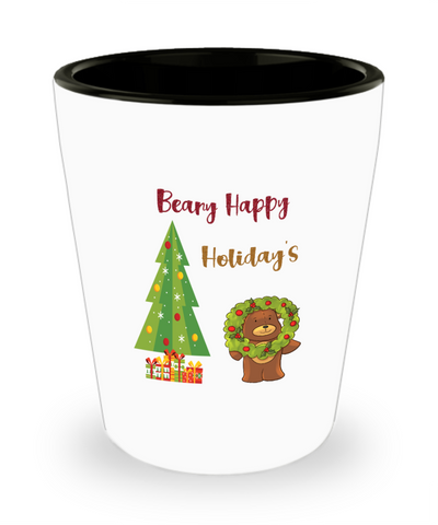 Beary Happy Holidays Christmas Teddy Bear Xmas Shot Glass