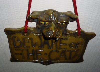 Handcrafted Pottery - Handmade Clay Beware Of The Cat Sign Artist Judhe Jensen Of Topeka Kansas