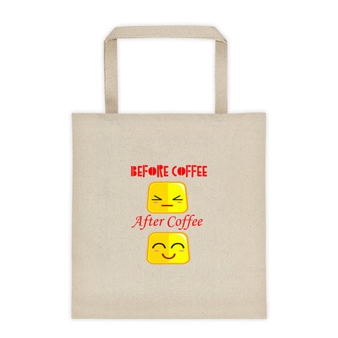 Before Coffee After Coffee Faces Tote Bag