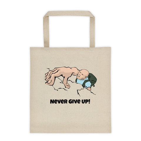Rock Climber Never Give Up Tote Bag
