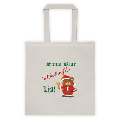 Santa Bear Is Checking His List Christmas Teddy Bear Holiday Tote Bag