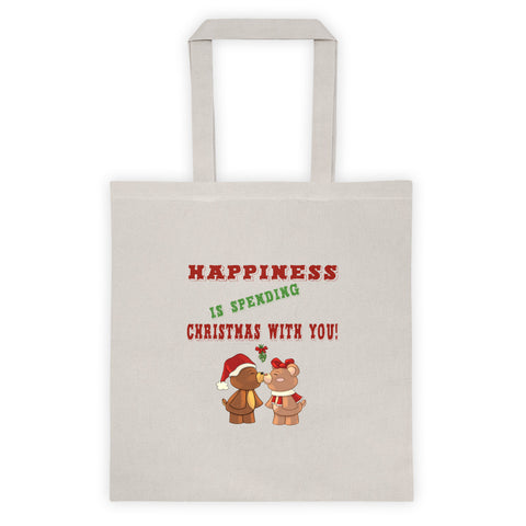 Happiness Is Spending Christmas With You Teddy Bears Kissing Mistletoe Xmas Tote Bag