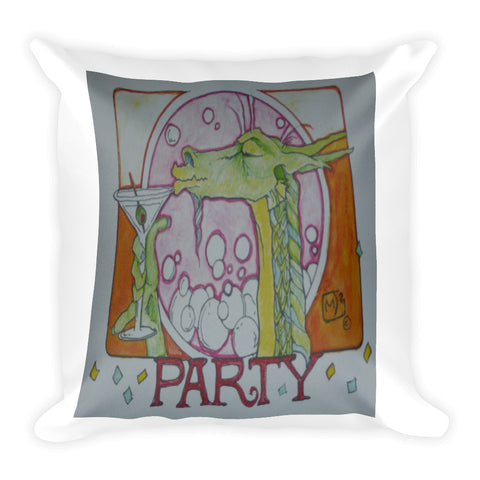 Dragon Drinking Martini Party Pillow