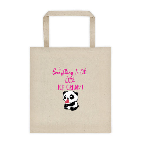 Everything Is Ok With Ice Cream Panda Bear Tote Bag