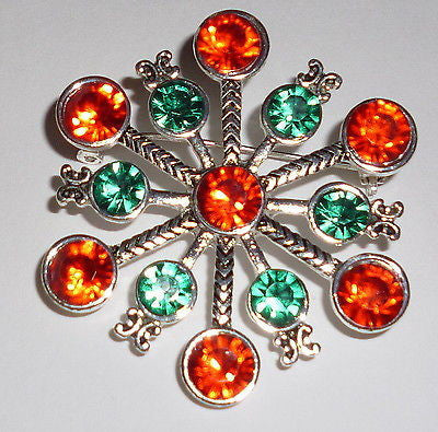 Pins - Colorful Christmas Rhinestone Snowflake Pin