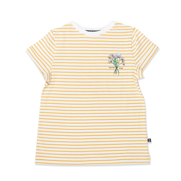 Hello Stranger Daisy Tee - Yellow Stripe