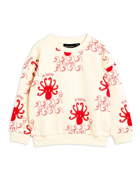 Mini Rodini Octopus AOP Sweatshirt - Off White/Red