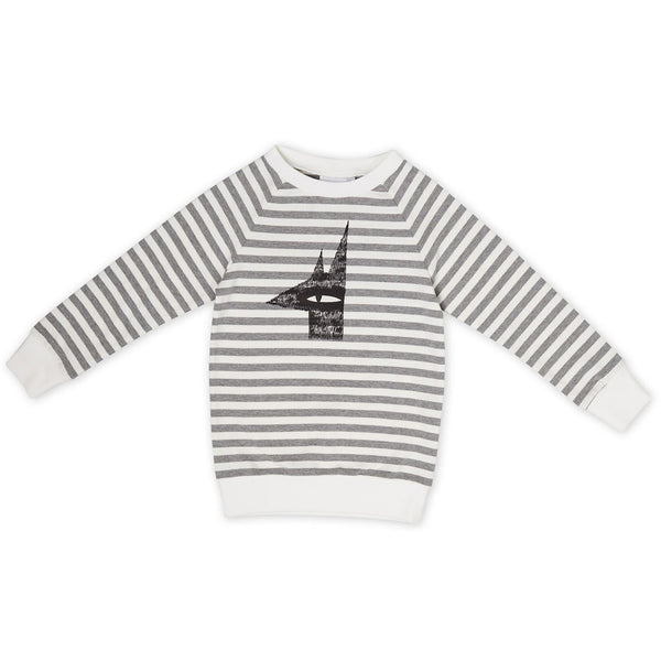 Kapow Creep Through The Night Placement Sweatshirt - Grey/White Stripe