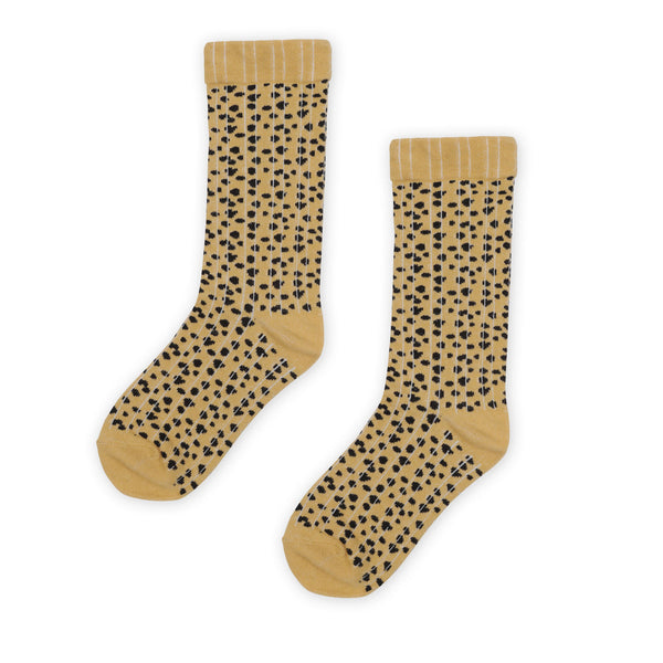 Kapow Speckle Ribbed Knee High Socks - Mustard