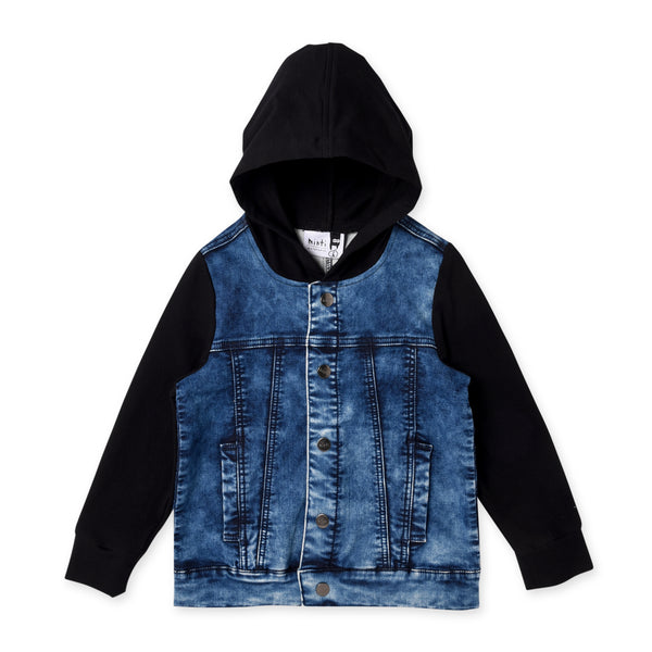 Minti Hooded Rocker Jacket - Blue Denim