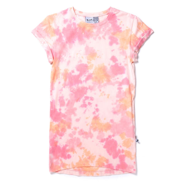 Minti Wham Rolled Up Tee Dress - Pink/Orange Tie Dye