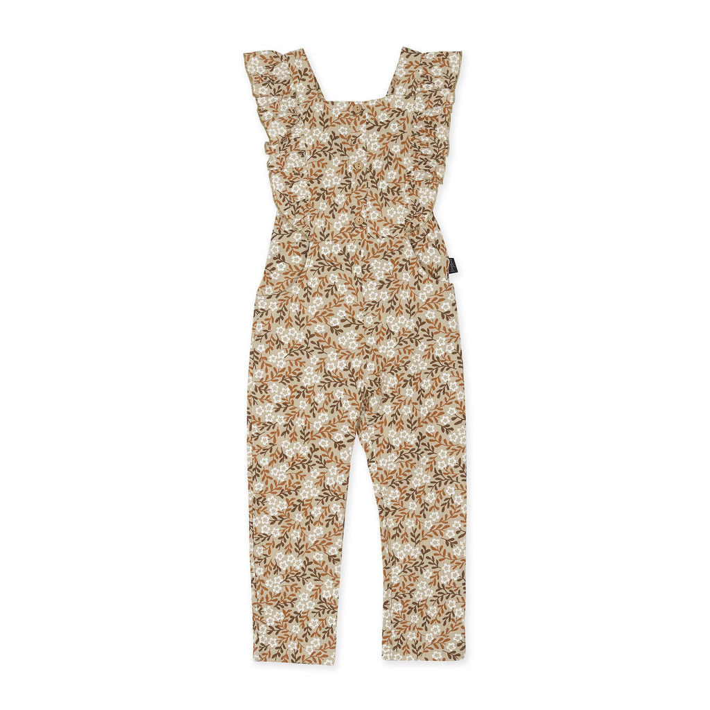 Kapow Vintage Floral Ruffle Dungarees
