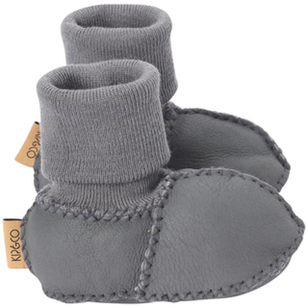 Kip & Co Merino Sheepskin Baby Booties - Dark Grey