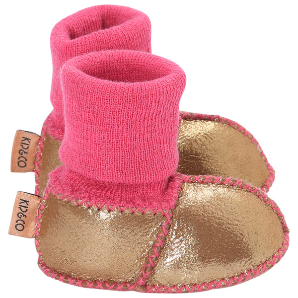 Kip & Co Merino Sheepskin Baby Booties - Gold Metallic