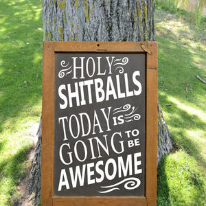 Holy Shitballs Today is Going to Be Amazing - Chalkboard Decal - Funny Party Sign - Rustic Wedding - Funny Wedding Decor - Holy Shit Balls