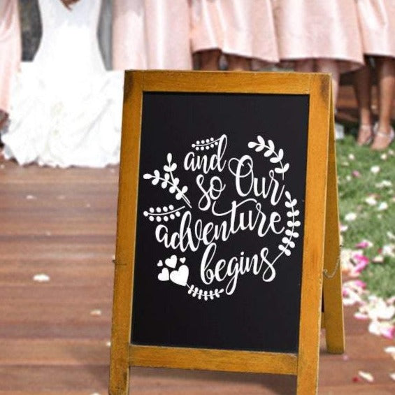 Wedding Signs  chalkboard sign  rustic wedding decor  wedding decal  Wedding Decor  and so our adventure begins  wedding sign  wedding gift  wedding decor  rustic wedding  reception sign  our adventure begins  home decor  engaged  decals  chalkboard  bridal shower gift  and so  adventure begins