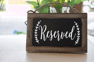 Reserved Wedding Decal, Reserved Sign, Reserved Wedding Sign, Reserved Table Sign, Reserved for Family, Reserved chair sign, Rustic Wedding