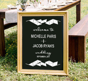 Geometric Welcome Wedding Sign - East Coast Vinyl Decals, Inc.
