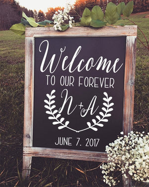 Welcome to the Wedding of Decal - Welcome Wedding Sign - Wedding Decor - Rustic Wedding Sign - Wedding Welcome Sign - Welcome - Our Forever