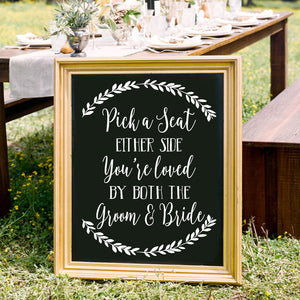 Pick a Seat Not a Side - Chalkboard Decal Sign, Seating Sign, Pick a Seat Sign, Wedding Seating, Wedding Signage, Wedding Decor, Ceremony