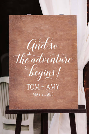 Wedding Sign Decal | And so the Adventure Begins