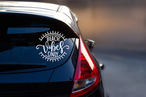Summer Car Decal - Bumper Sticker - Beach Vibes Only - Car Decal - Vinyl Decal - Car Window Decal - Beach - Good Vibes - Only - Peace Love