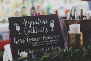 Signature Drink Sign - Decal - Signature Drink Sign Wedding - Signature Cocktails - Wedding Decor - His and Hers Drink Sign, Custom Bar Sign