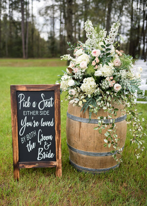 Wedding Reception Decor | Seating Sign | Pick a Seat Not a Side | DIY Chalkboard Decal