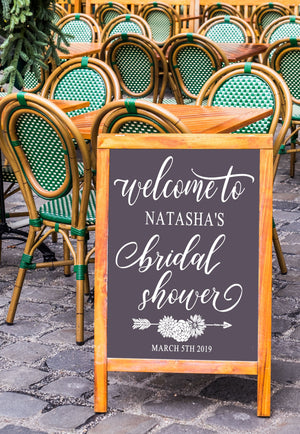 Personalized Rustic Boho Bridal Shower Sign | DIY Chalkboard Decal | Welcome To Entryway Sign | #91819