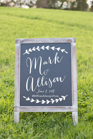 DIY Rustic Wedding Repection Sign - Welcome Sign - Wedding Welcome Sign - Chalkboard Sign - Custom Wedding Sign - #92519
