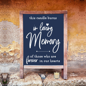 Wedding Memorial Sign, In Loving Memory, Chalkboard Decal, Memorial Candle, Memory Table Sign, DIY Rustic Wedding Reception Sign, Heaven