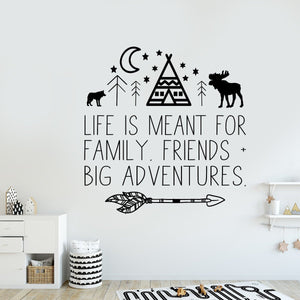 Adventure Wall Decal for Kids Room Nursery Decor - You Are Our Greatest Adventure - Adventure Awaits - Teepee Tribal Woodland - Wall Quote