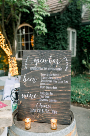 Open Bar Wedding Reception Sign | DIY Wedding Decal Sign | Personalized Rustic Drink Sign | 2019 Wedding Trends | Wedding Bar | Drink Menu