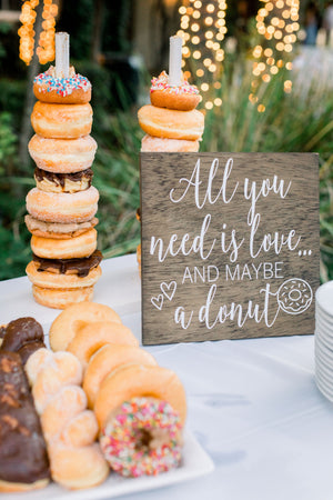 Donut Bar Sign | All You Need is Love and a Donut | Perfect for Weddings, Bridal Showers, Birthdays Baby, Showers + More | DIY Rustic Decal