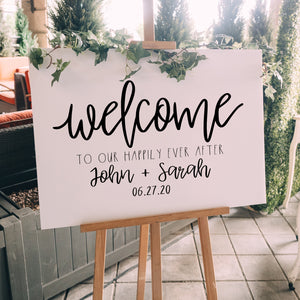 Personalized Rustic Welcome to the Wedding of Sign Decal