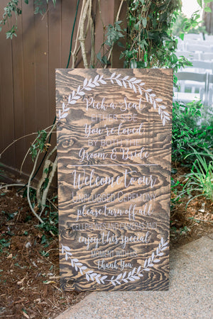 Welcome to the Unplugged Wedding and Pick a Seat Not a Side Sign Decal | Rustic Wedding Ceremony Sign | Wedding Decor | 2019 Wedding Trends