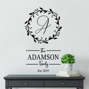 Family Established Wall Decal | Family Monogram | Personalized Family Decor | Housewarming Gift | Wedding Gift