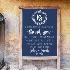 Personalized Country Wedding Sign | Chalkboard Decal