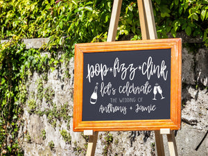Personalized Rustic Welcome to the Wedding of Sign Decal | Pop Fizz Clink