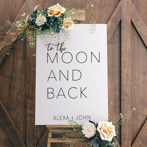 Personalized To the Moon and Back Wedding Decal Sign | #69192