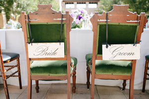 Bride and Groom Chair Signs | DIY Decal or Stencil