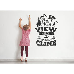 Mountains Wall Decal Nursery | Peel and Stick | Adventure Decor | The Best View Comes After the Hardest Climb