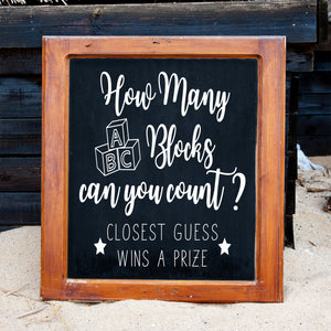 How Many Blocks Can You Count | Chalkboard Decal | Create Your Own Baby Shower Decor | Baby Shower Games | Baby Shower Sign