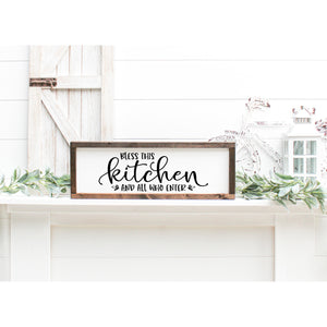 Bless this Kitchen And All Who Enter Wall Lettering Quote | Farmhouse Decor | Entryway Decor | Family Wall Art Signs