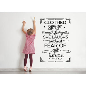 Clothed with Strength and Dignity Wall Decal | Gifts for Women | Baby Girl | Gift for Her